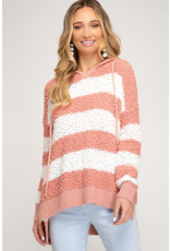 She+Sky JOIN THE PARTY  Striped Popcorn Sweater with Hood