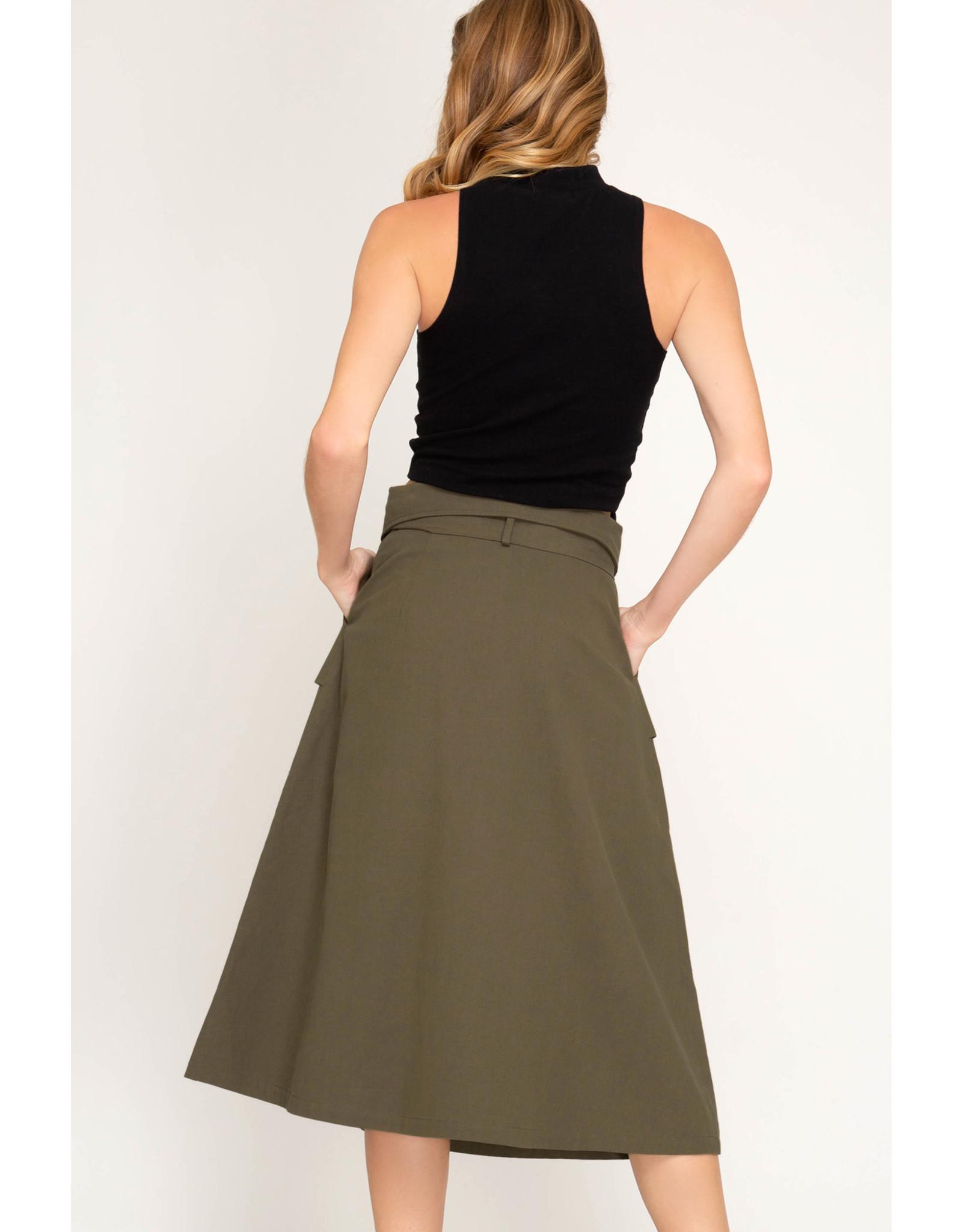 She+Sky LIMELIGHT Paperbag Midi Skirt with Belt