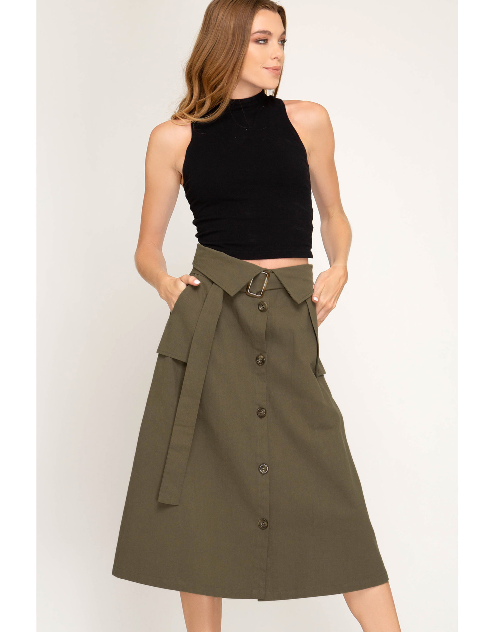The Ritzy Gypsy LIMELIGHT Paperbag Midi Skirt with Belt