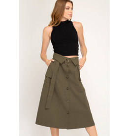 She+Sky LIMELIGHT Paperbag Midi Skirt with Belt