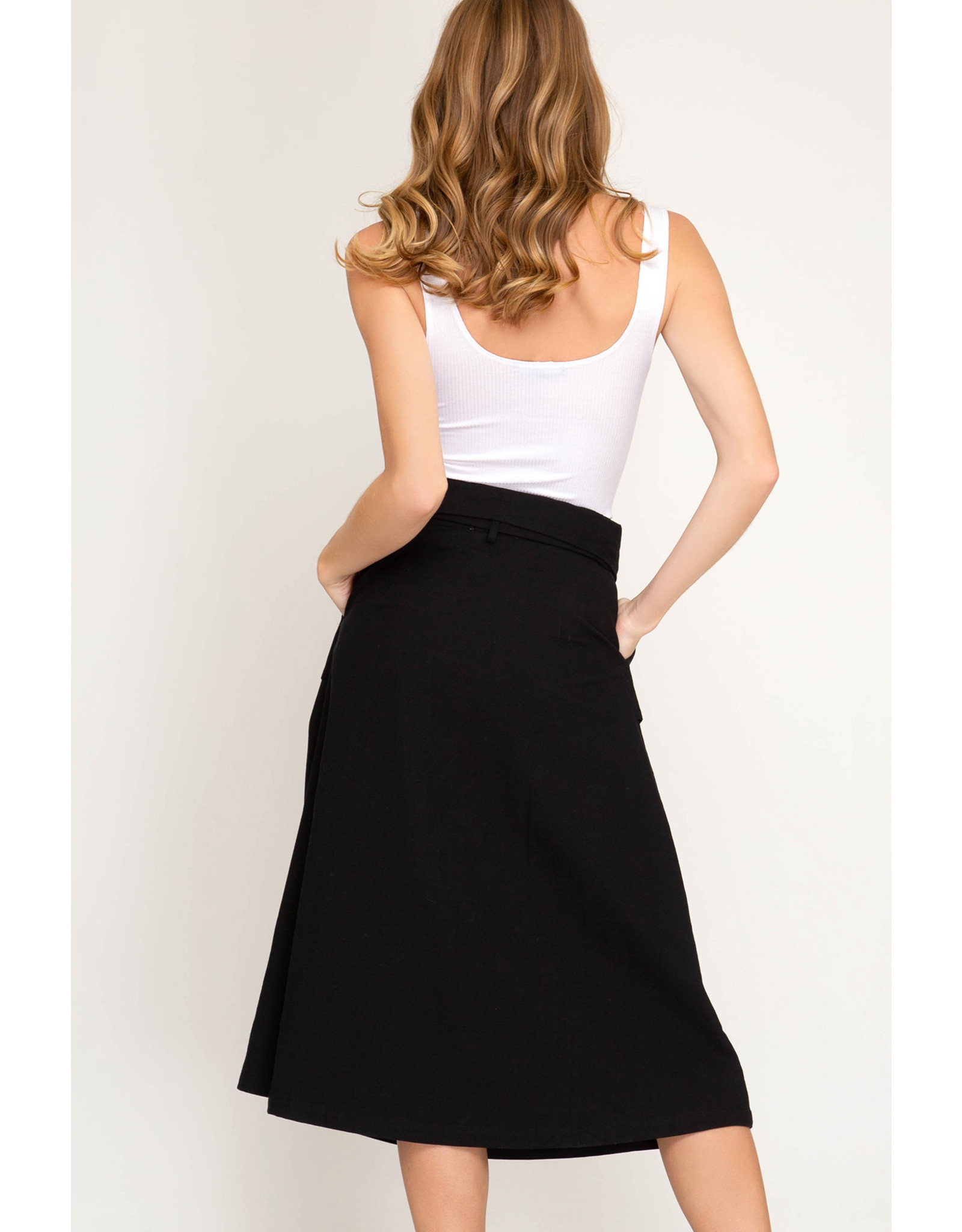 She+Sky DOWNTOWN DREAMS Paperbag Midi Skirt with Belt