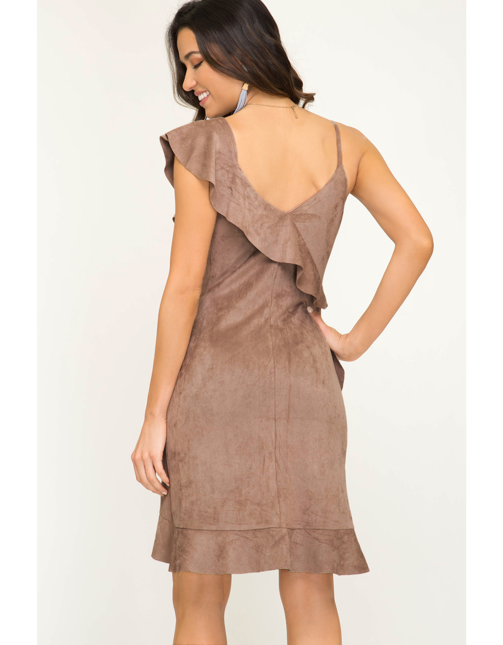 She+Sky ON THE FLY Faux Suede Ruffle Dress