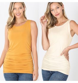 Zenana Premium RUCHED Sleeveless Top (S-XL)
