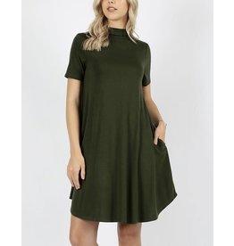 fashiongo ARMY GREEN Mock Neck Dress