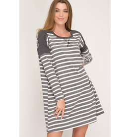 She+Sky SEIZE THE DAY Charcoal Striped Long Sleeve Dress