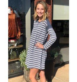 She+Sky FRENCHIE Navy Striped Long Sleeve Dress