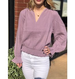 She+Sky LIFE ON THE EDGY Smocked Waistband Blouse (Lilac)