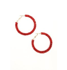 J&S Fashion BOOMER Red Beaded Hoops