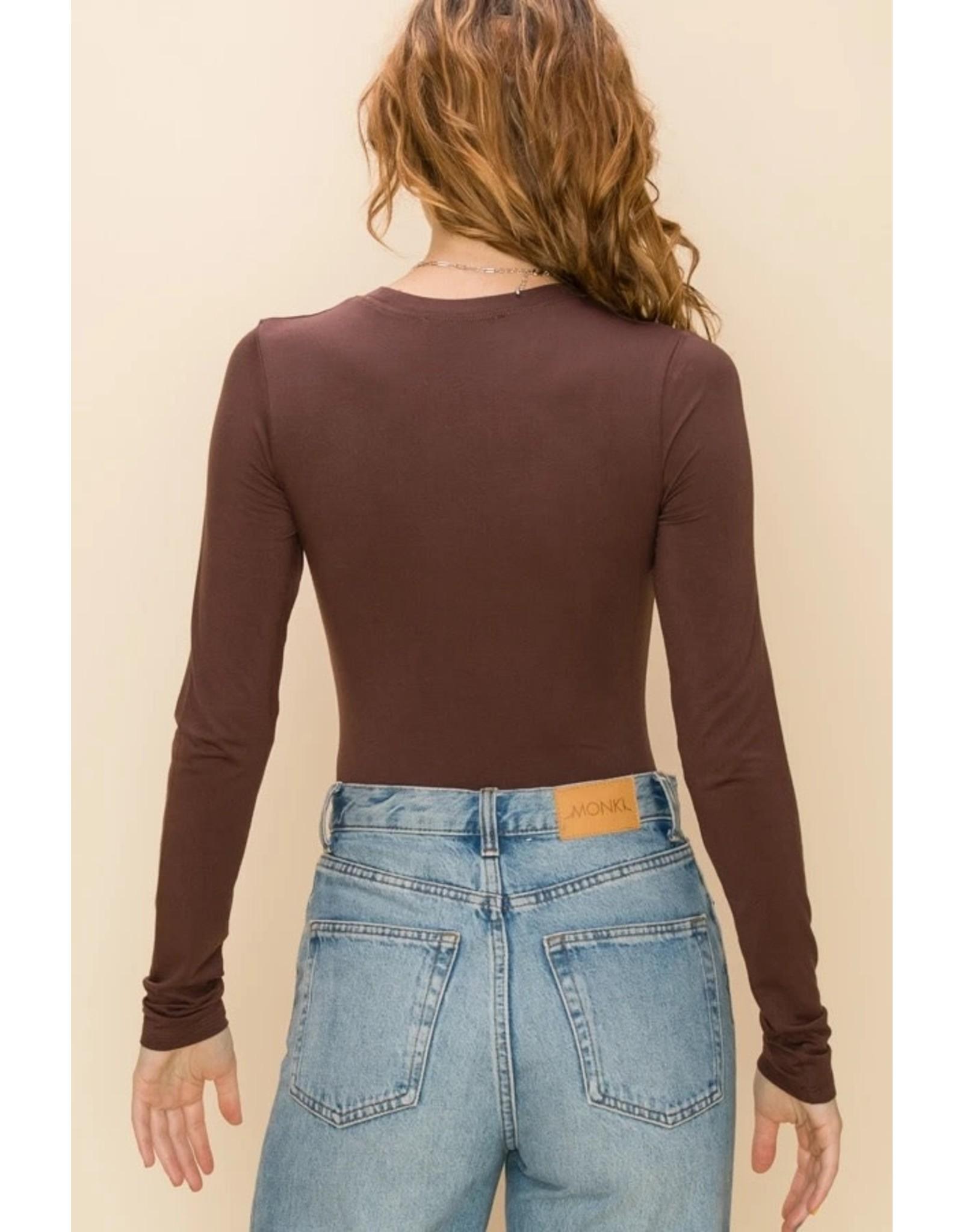 BONNIE Brown Long Sleeve Bodysuit