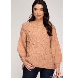 She+Sky CAROLINA CRUSH Cable Knit Sweater (Blush Peach)