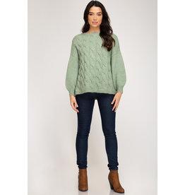 She+Sky CAROLINA CRUSH Cable Knit Sweater (Misty Sage)