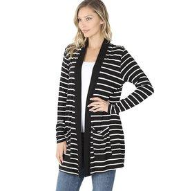 Zenana Premium MANDY Striped Cardigan With Pockets (black)