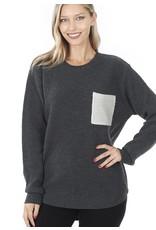 fashiongo DEVON Grey Pocket Sweater