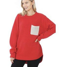 fashiongo POINSETTIA Pocket Sweater