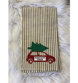 The Ritzy Gypsy SURVIVED 2020 Striped  Kitchen Towel