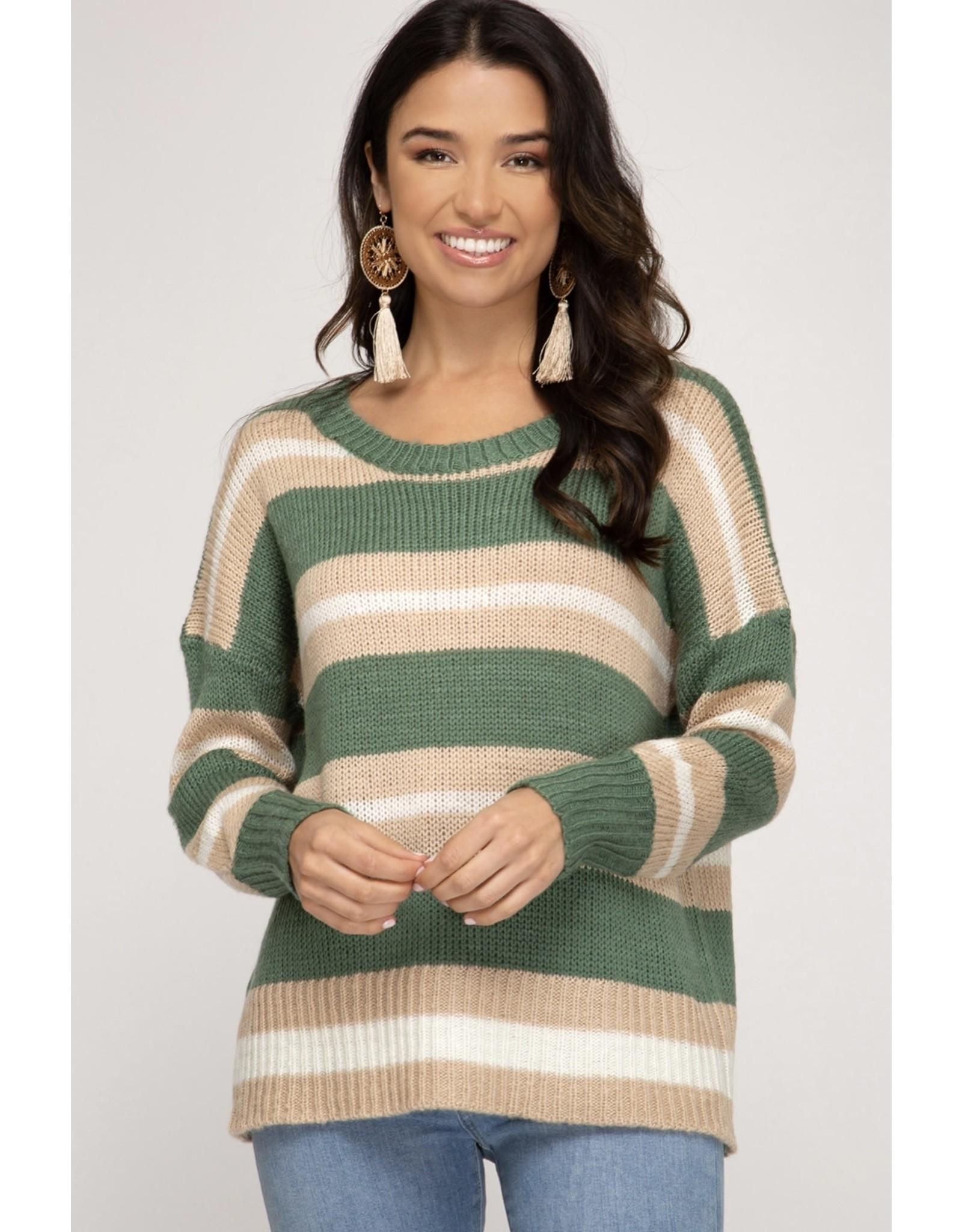 She+Sky LARKIN Striped Pullover Knit Sweater