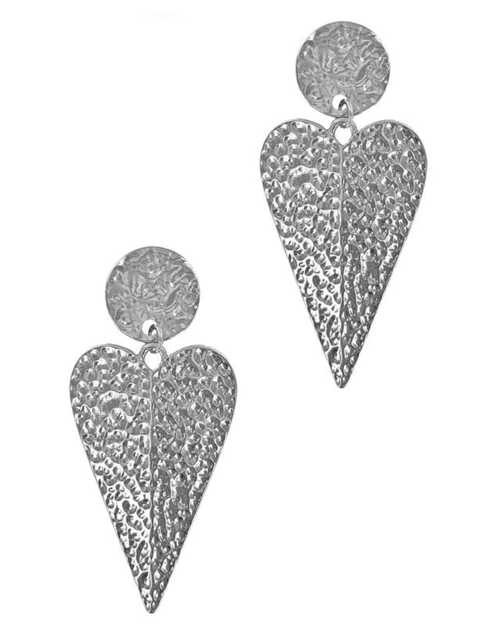 The Ritzy Gypsy HE LOVES ME Hammered Heart Earring