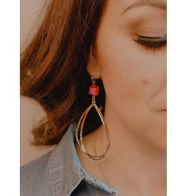 RUBY Red Stone Gold Dangle Earring