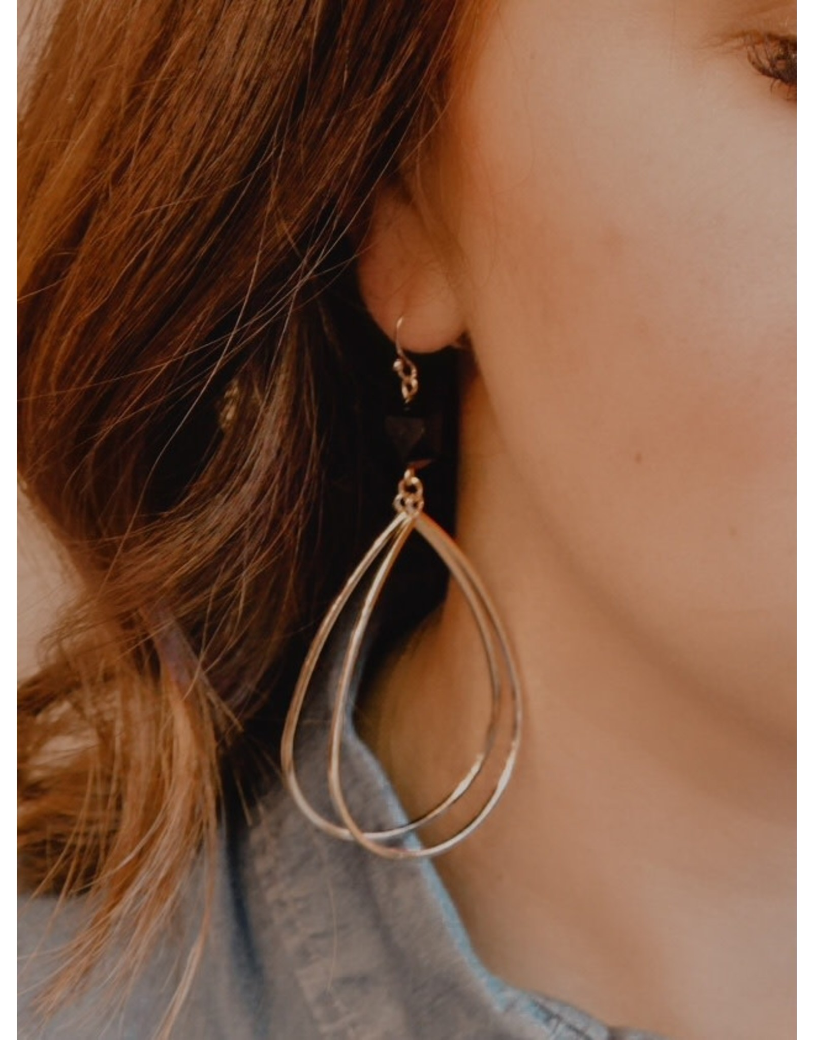 COAL Black Stone Gold Dangle Earring