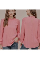 The Ritzy Gypsy BECKY Pink Smocked Neck Top
