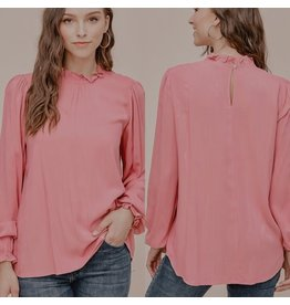 Staccato BECKY Pink Smocked Neck Top
