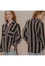 The Ritzy Gypsy HEATHER Striped Button Up Top