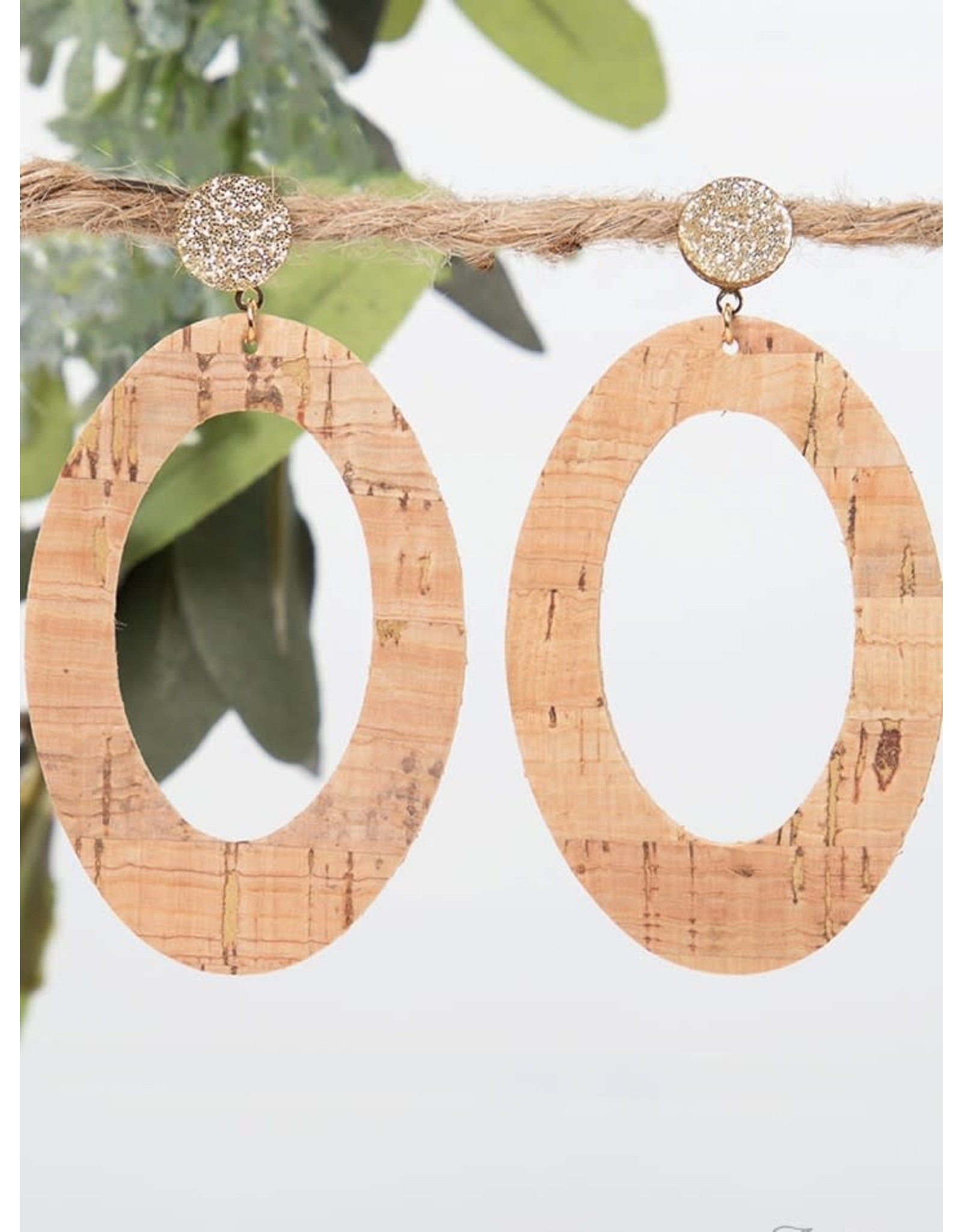 Southern Grace SHIMMER Oval Cork Earring