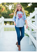 Southern Grace BLESS YOUR HEART Ruffle Sleeve Tee (S-XL)