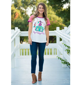 Southern Grace MY HAPPY PLACE Ringer Tee