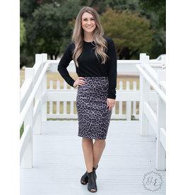 Southern Grace PENCILS DOWN Leopard Pencil Skirt