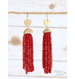 Southern Grace FALLING IN LOVE Beaded Heart Earring (red)
