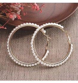 AMY Gold Pearl Hoop Earrings