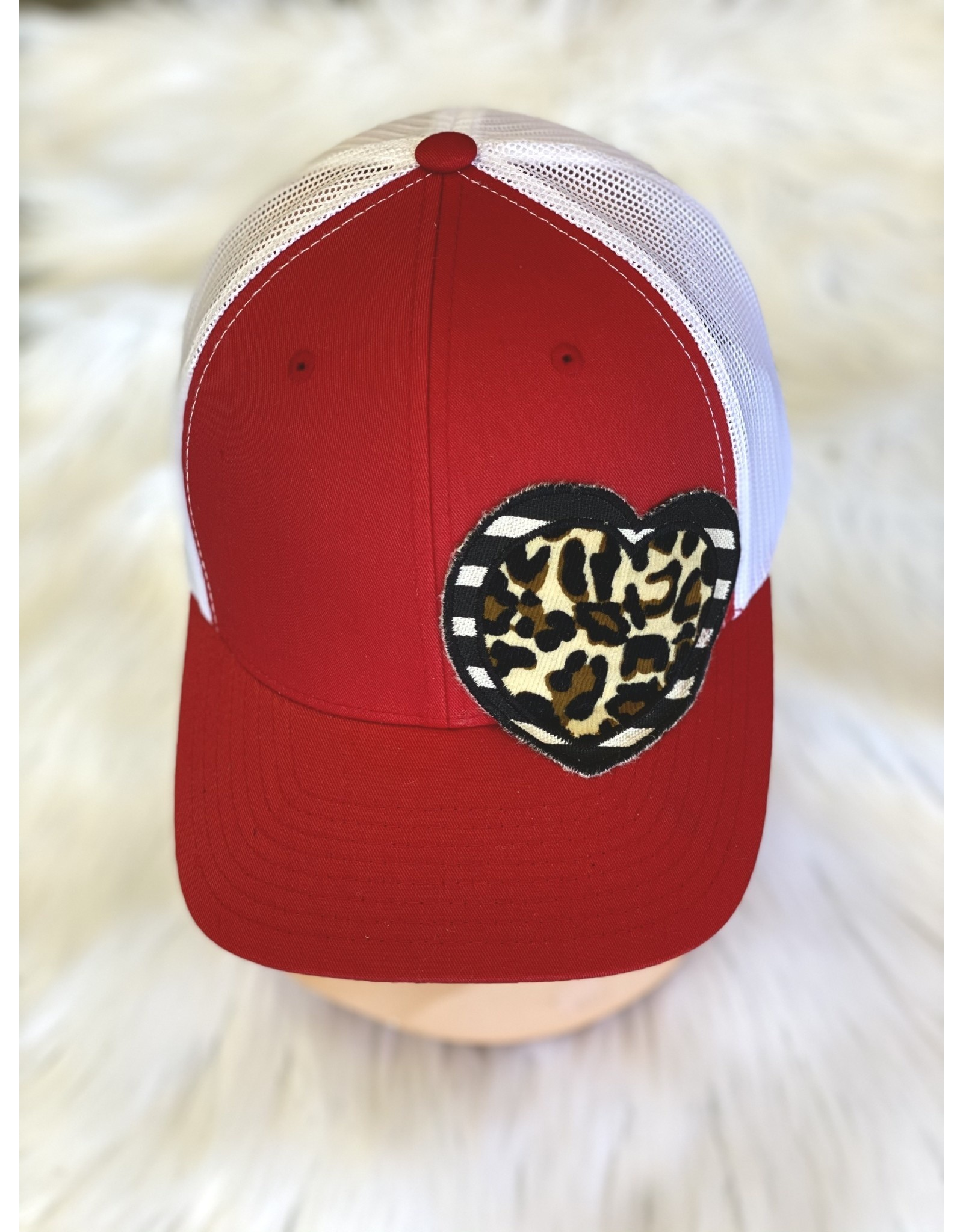 The Ritzy Gypsy HAPPY HEART Trucker Hat (red leopard)