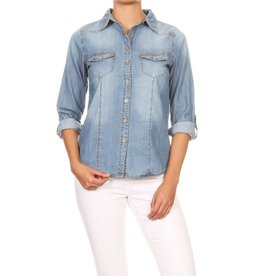 The Ritzy Gypsy SYD Button Up Denim Top