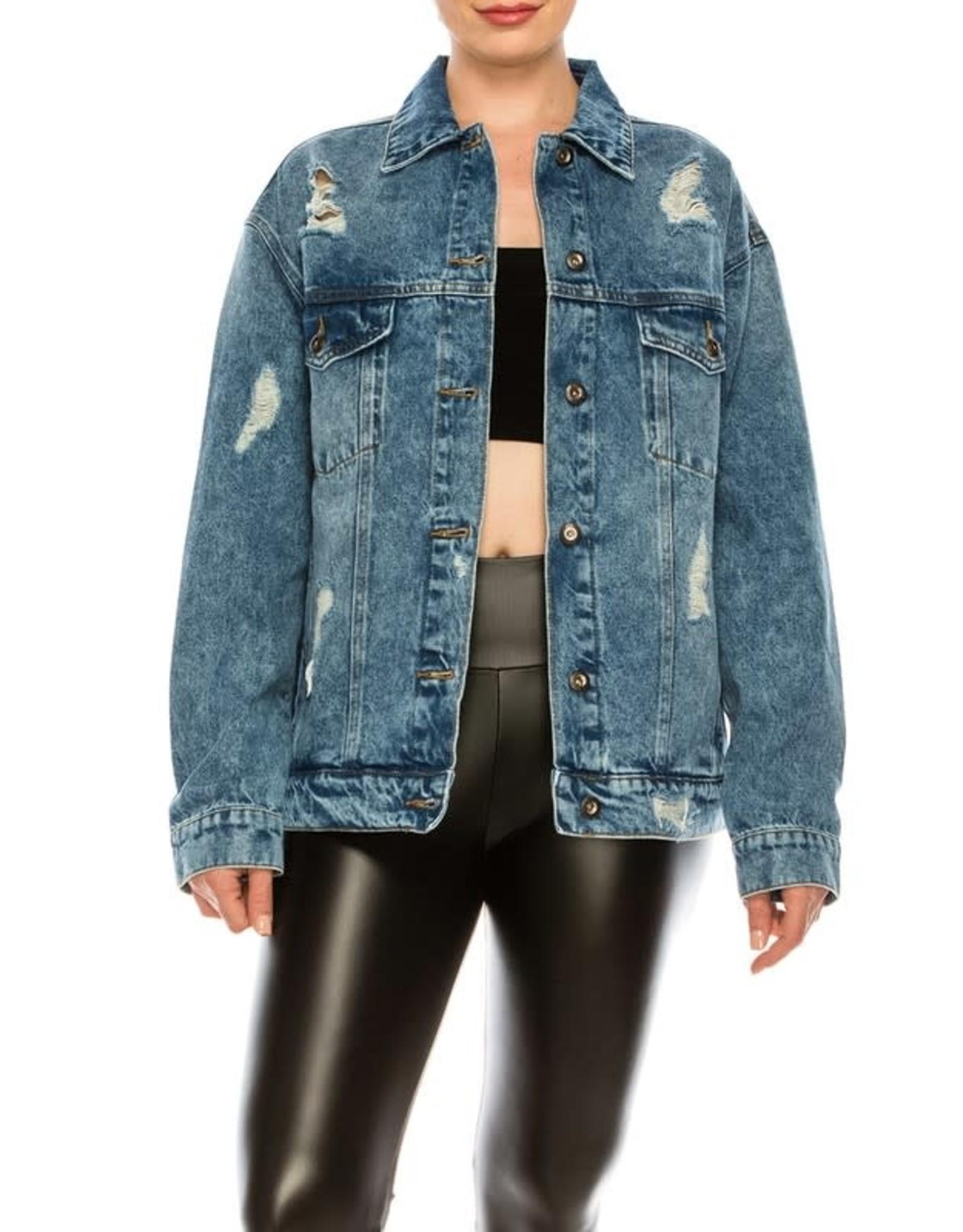 Veveret JOSIE Oversize Distressed Denim Jacket