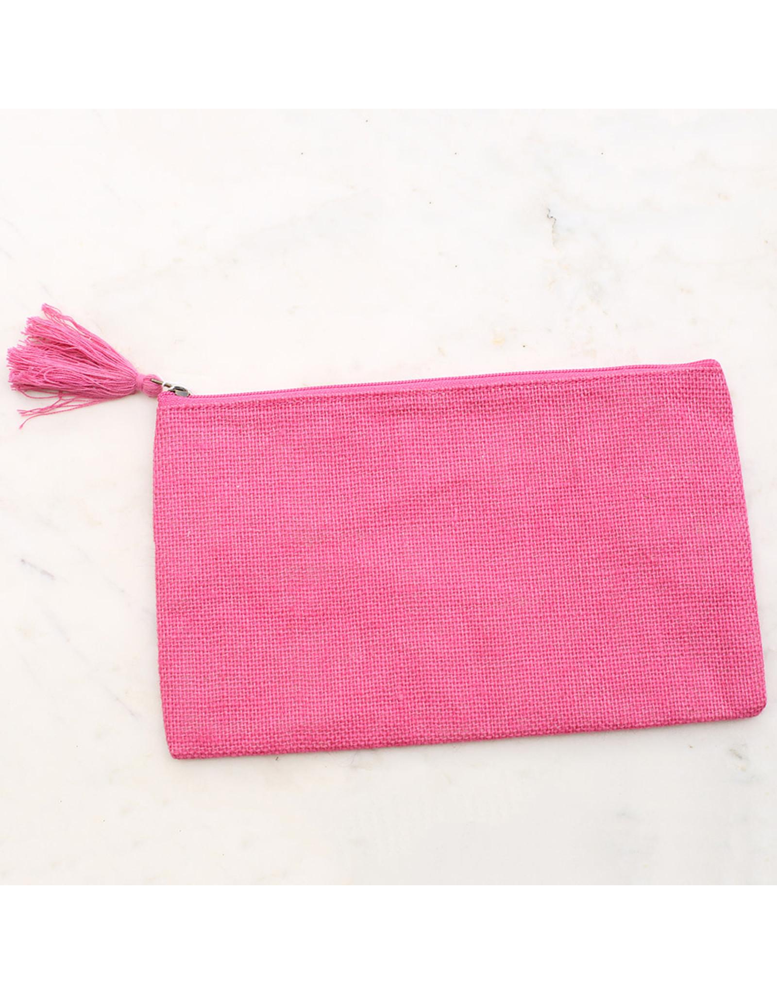 GET PRETTY Jute Cosmetic Bag (includes monogram)