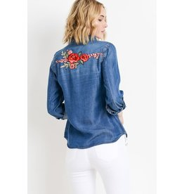 The Ritzy Gypsy FLOWER CHILD Denim Button Shirt