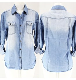The Ritzy Gypsy ROCCO Relaxed Denim Button Sleeve Shirt