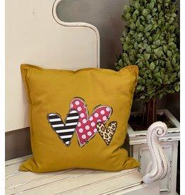 The Ritzy Gypsy Mustard Three Hearts Pillow