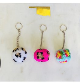The Ritzy Gypsy RODEO QUEEN Leopard Pom Pom Keychain
