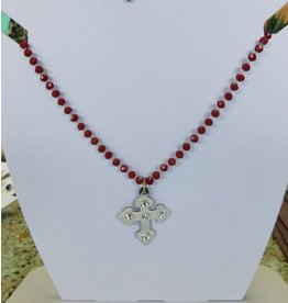 The Ritzy Gypsy CROSS Beaded Necklace (RED)