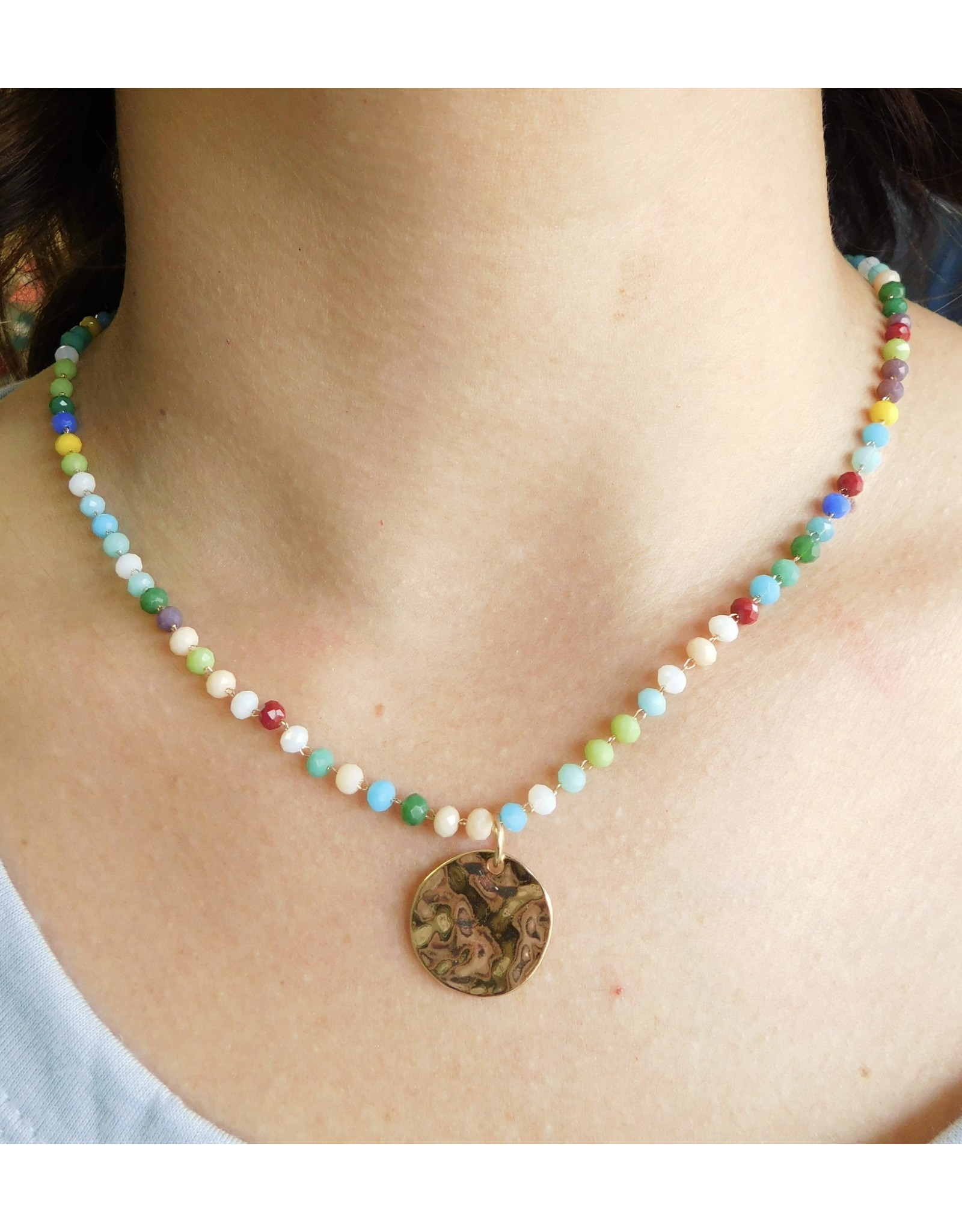 HAPPY VIBES Beaded Necklace with Gold Pendent