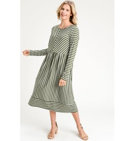 The Ritzy Gypsy QUEEN Olive  Striped Dress