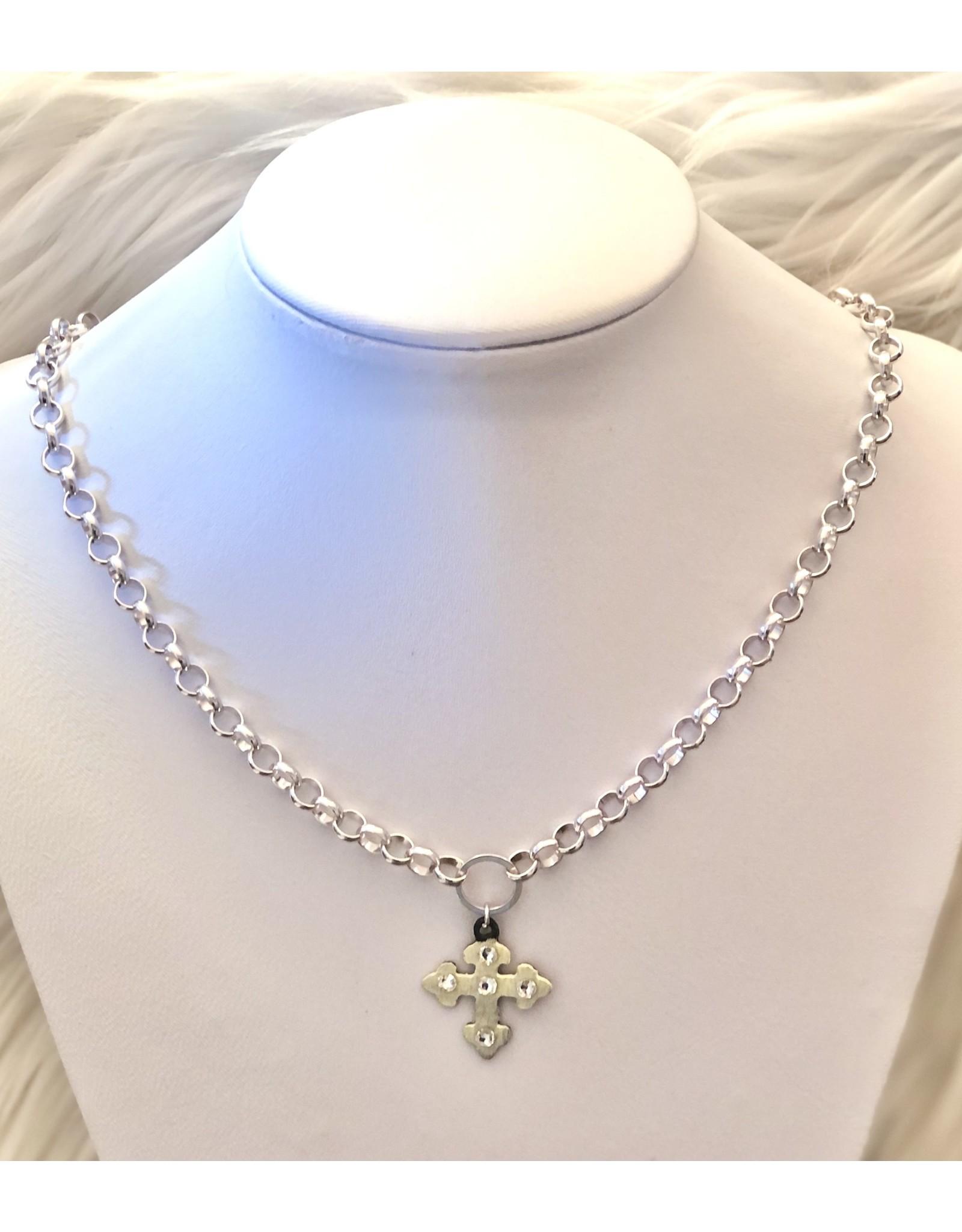 The Ritzy Gypsy HARPER Silver Chain Cross  Necklace