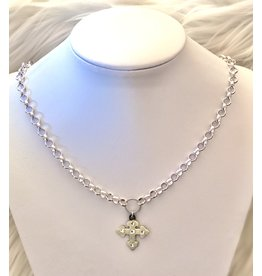 The Ritzy Gypsy HARPER Silver Chain Cross  Necklace