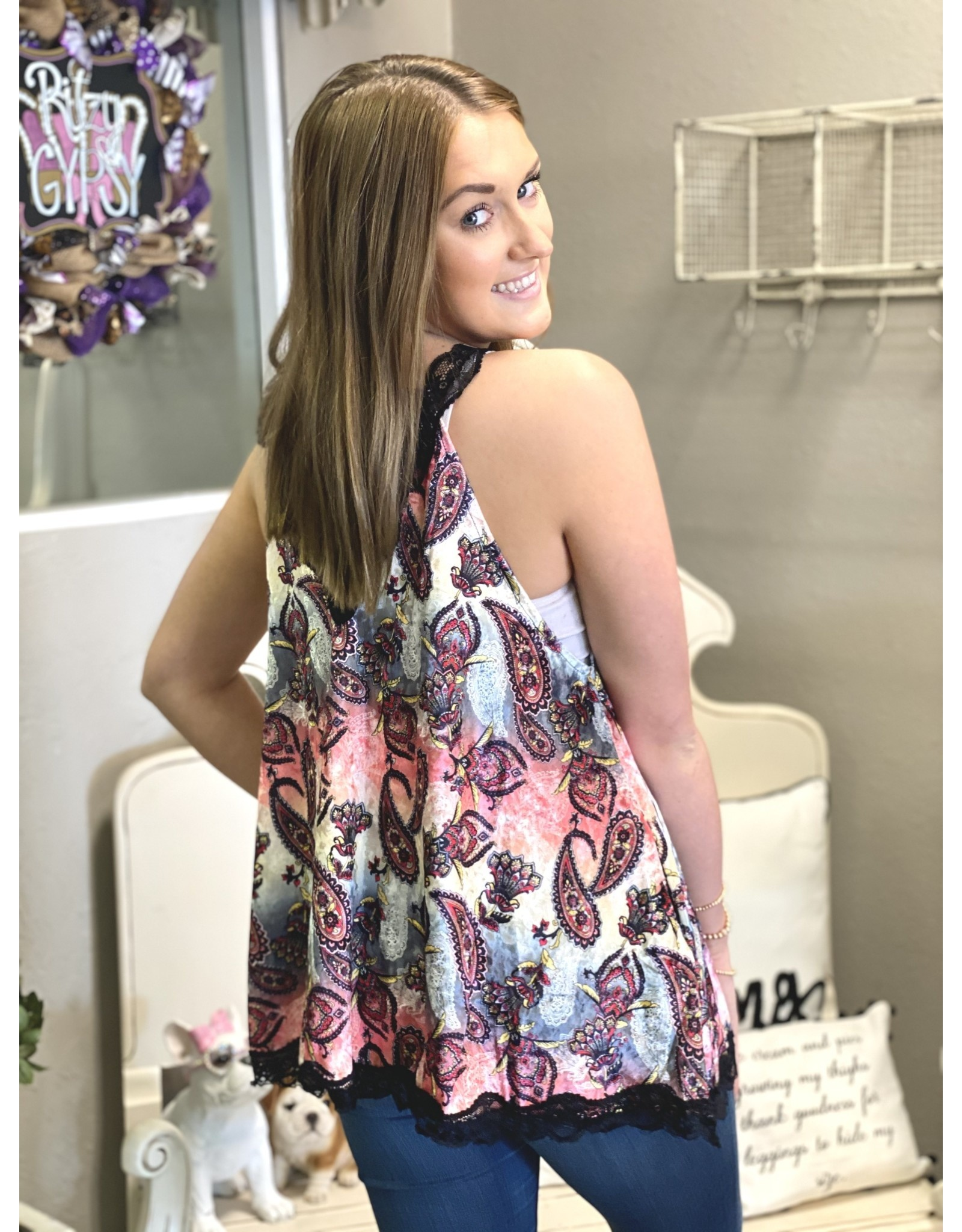 The Ritzy Gypsy PAISLEY Velvet Lace Tank