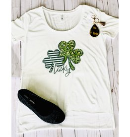The Ritzy Gypsy LUCKY CLOVER Graphic Tee with Crystals