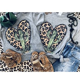 The Ritzy Gypsy LEOPARD HEART Cactus Graphic Tee
