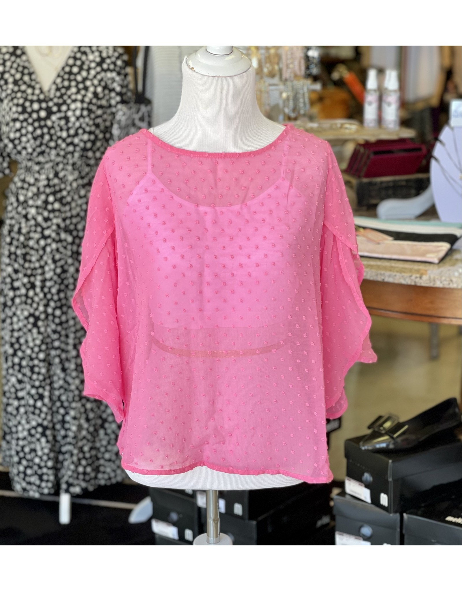 The Ritzy Gypsy BUBBLE Pink Textured Private Label Top
