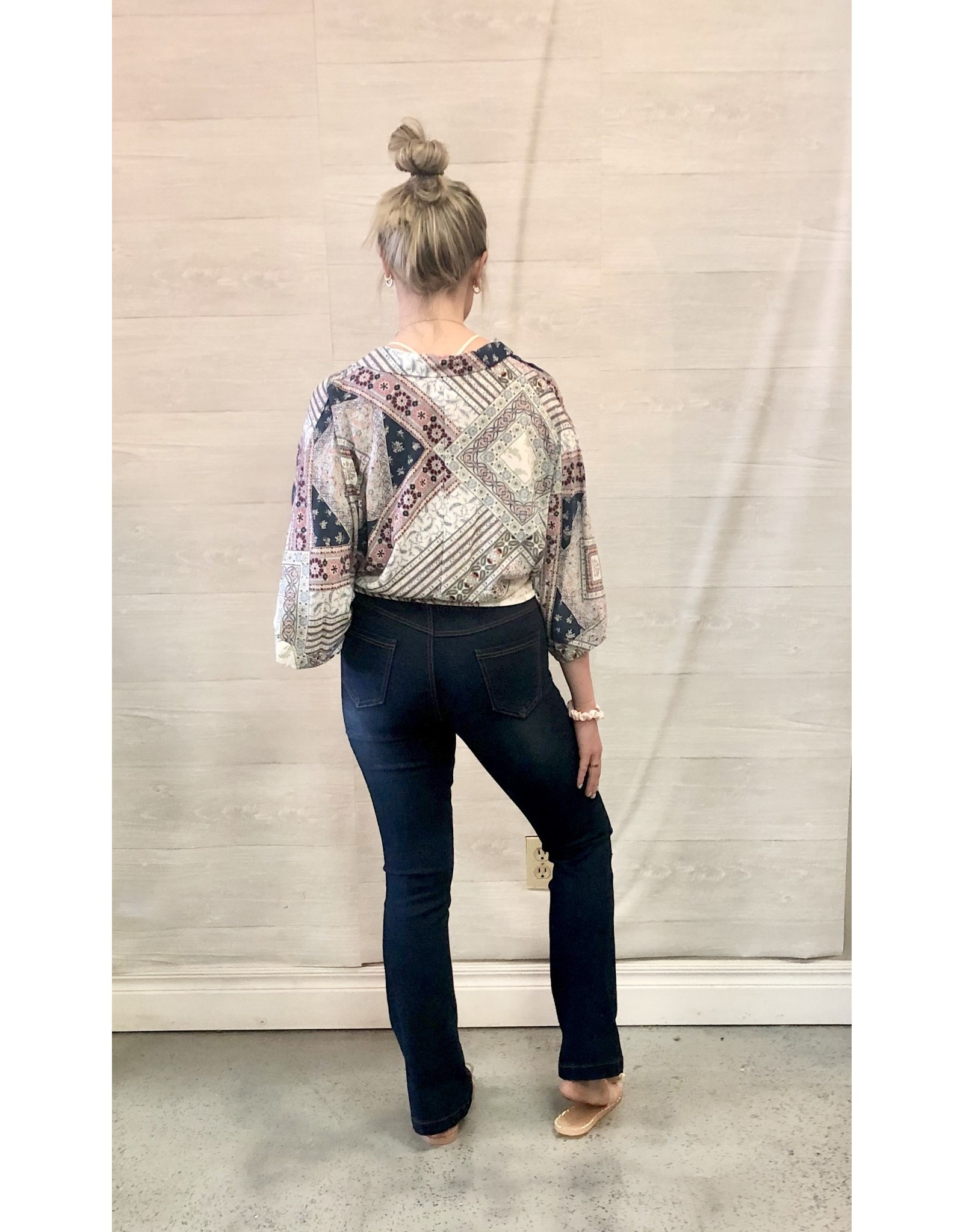 The Ritzy Gypsy RUN FREE Mixed Print Top